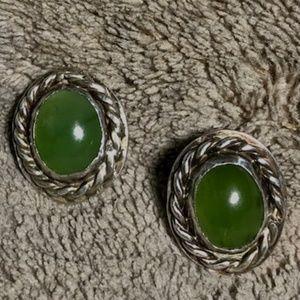 Sterling Silve Navajo Green Agate Stud Earrings